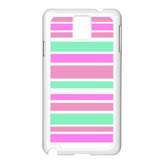 Pink Green Stripes Samsung Galaxy Note 3 N9005 Case (White)