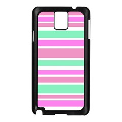 Pink Green Stripes Samsung Galaxy Note 3 N9005 Case (Black)