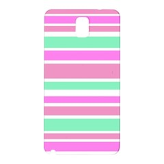 Pink Green Stripes Samsung Galaxy Note 3 N9005 Hardshell Back Case by BrightVibesDesign