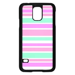 Pink Green Stripes Samsung Galaxy S5 Case (black) by BrightVibesDesign