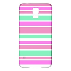 Pink Green Stripes Samsung Galaxy S5 Back Case (White)