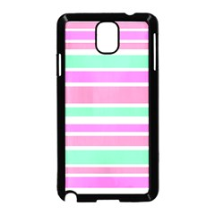 Pink Green Stripes Samsung Galaxy Note 3 Neo Hardshell Case (Black)