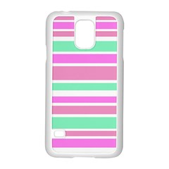 Pink Green Stripes Samsung Galaxy S5 Case (white) by BrightVibesDesign