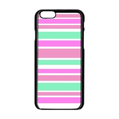 Pink Green Stripes Apple Iphone 6/6s Black Enamel Case by BrightVibesDesign