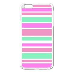 Pink Green Stripes Apple Iphone 6 Plus/6s Plus Enamel White Case by BrightVibesDesign