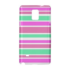 Pink Green Stripes Samsung Galaxy Note 4 Hardshell Case by BrightVibesDesign