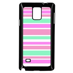 Pink Green Stripes Samsung Galaxy Note 4 Case (black) by BrightVibesDesign