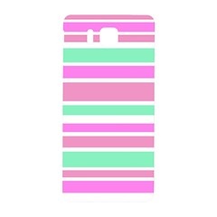 Pink Green Stripes Samsung Galaxy Alpha Hardshell Back Case by BrightVibesDesign