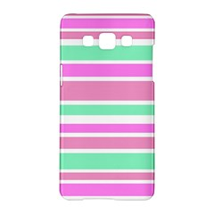 Pink Green Stripes Samsung Galaxy A5 Hardshell Case  by BrightVibesDesign