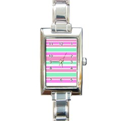 Pink Green Stripes Rectangle Italian Charm Watch