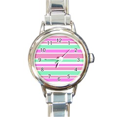 Pink Green Stripes Round Italian Charm Watch