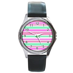 Pink Green Stripes Round Metal Watch