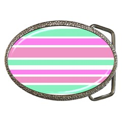 Pink Green Stripes Belt Buckles