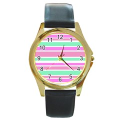 Pink Green Stripes Round Gold Metal Watch by BrightVibesDesign