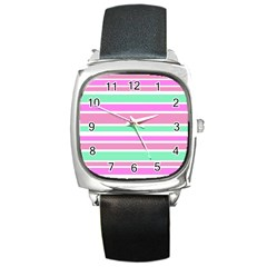 Pink Green Stripes Square Metal Watch