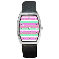Pink Green Stripes Barrel Style Metal Watch