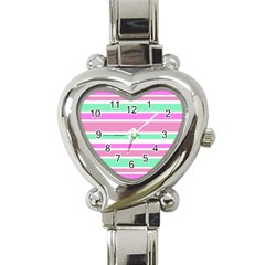 Pink Green Stripes Heart Italian Charm Watch