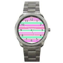 Pink Green Stripes Sport Metal Watch by BrightVibesDesign