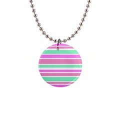 Pink Green Stripes Button Necklaces