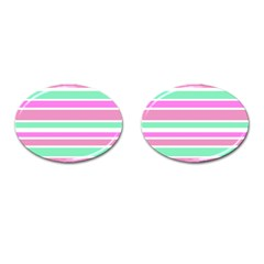 Pink Green Stripes Cufflinks (Oval)