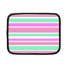 Pink Green Stripes Netbook Case (Small)