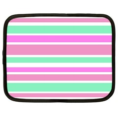 Pink Green Stripes Netbook Case (Large)