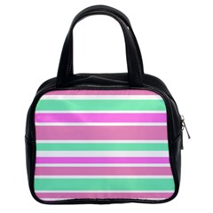 Pink Green Stripes Classic Handbags (2 Sides)