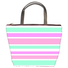 Pink Green Stripes Bucket Bags by BrightVibesDesign