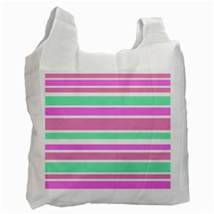 Pink Green Stripes Recycle Bag (Two Side)