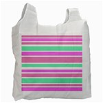 Pink Green Stripes Recycle Bag (Two Side)  Front
