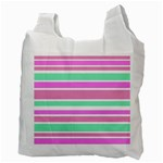 Pink Green Stripes Recycle Bag (Two Side)  Back