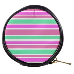 Pink Green Stripes Mini Makeup Bags