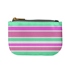 Pink Green Stripes Mini Coin Purses