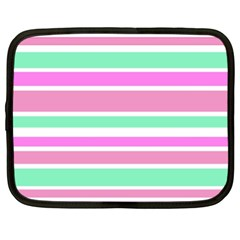 Pink Green Stripes Netbook Case (XL)