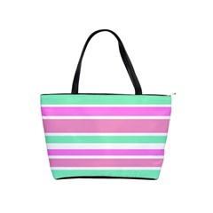 Pink Green Stripes Shoulder Handbags