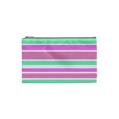 Pink Green Stripes Cosmetic Bag (Small)
