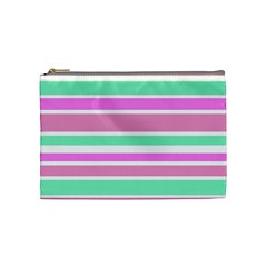 Pink Green Stripes Cosmetic Bag (Medium)