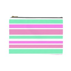 Pink Green Stripes Cosmetic Bag (Large)