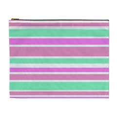 Pink Green Stripes Cosmetic Bag (XL)