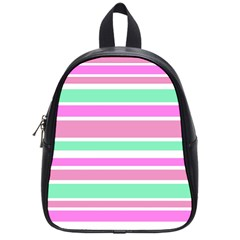 Pink Green Stripes School Bags (Small)