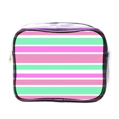 Pink Green Stripes Mini Toiletries Bags