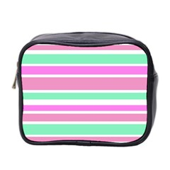 Pink Green Stripes Mini Toiletries Bag 2-Side