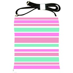 Pink Green Stripes Shoulder Sling Bags