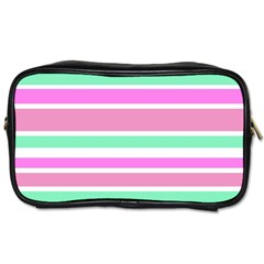 Pink Green Stripes Toiletries Bags