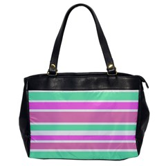 Pink Green Stripes Office Handbags