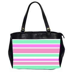 Pink Green Stripes Office Handbags (2 Sides)