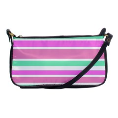 Pink Green Stripes Shoulder Clutch Bags