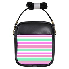Pink Green Stripes Girls Sling Bags