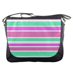 Pink Green Stripes Messenger Bags
