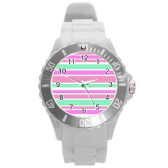 Pink Green Stripes Round Plastic Sport Watch (l) by BrightVibesDesign